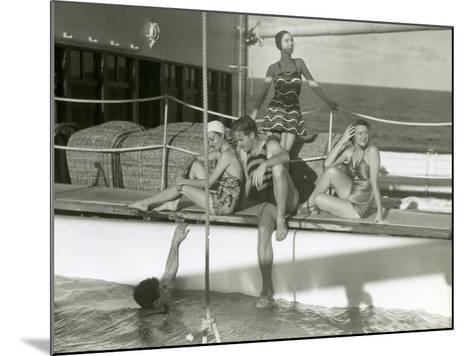 Men and Women By Pool on Cruise Ship-George Marks-Mounted Photographic Print