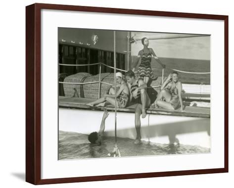 Men and Women By Pool on Cruise Ship-George Marks-Framed Art Print