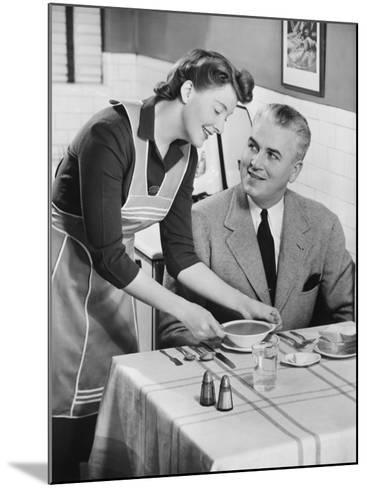 Woman Serving Soup To Husband-George Marks-Mounted Photographic Print