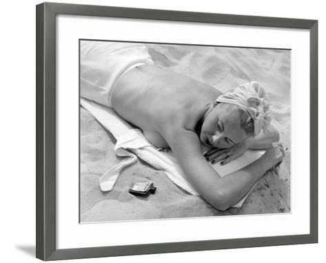 Woman Lying on Beach Topless-George Marks-Framed Art Print
