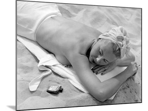 Woman Lying on Beach Topless-George Marks-Mounted Photographic Print