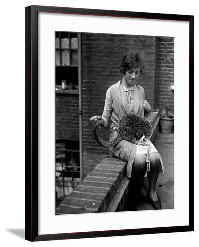 Woman and Anteater--Framed Art Print