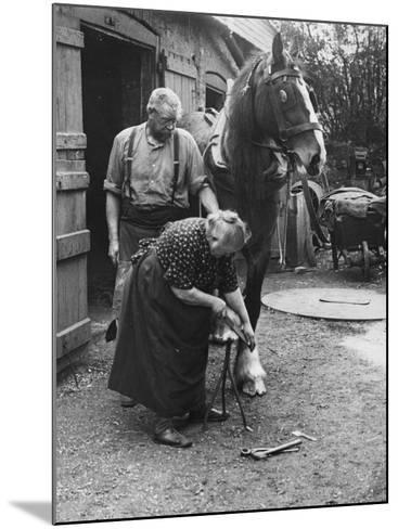 Old Lady Blacksmith--Mounted Photographic Print