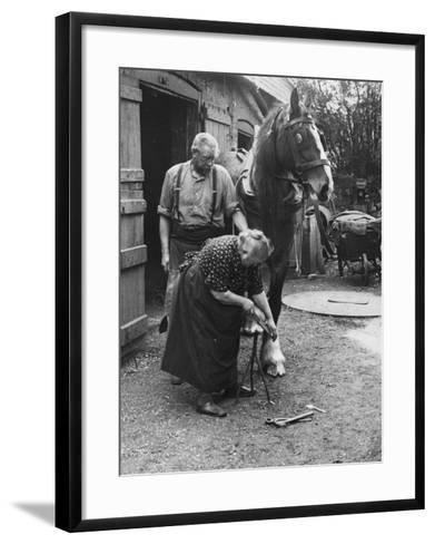 Old Lady Blacksmith--Framed Art Print