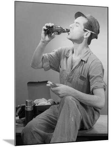 Worker Eating Lunch-George Marks-Mounted Photographic Print