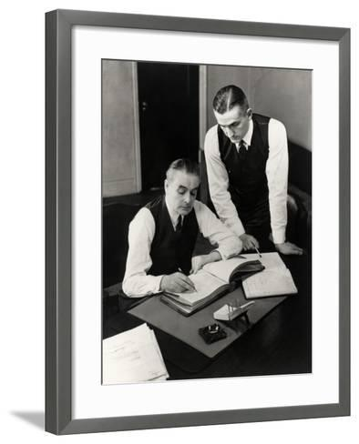 Bookkeepers With Records-George Marks-Framed Art Print