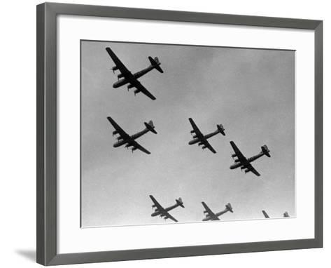 War Scene of Planes in the Sky-George Marks-Framed Art Print