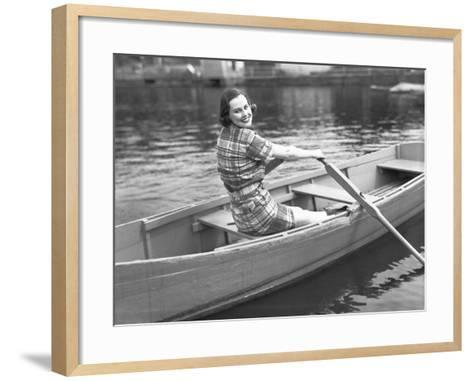 Woman Rowing Boat on Lake-George Marks-Framed Art Print