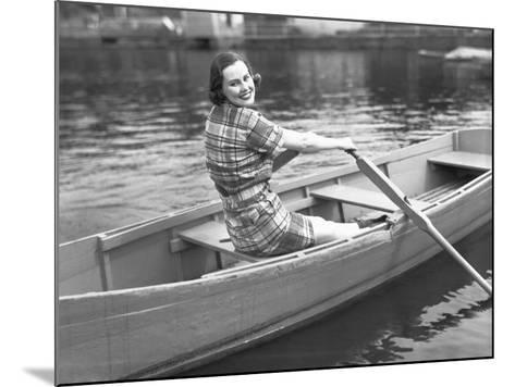 Woman Rowing Boat on Lake-George Marks-Mounted Photographic Print