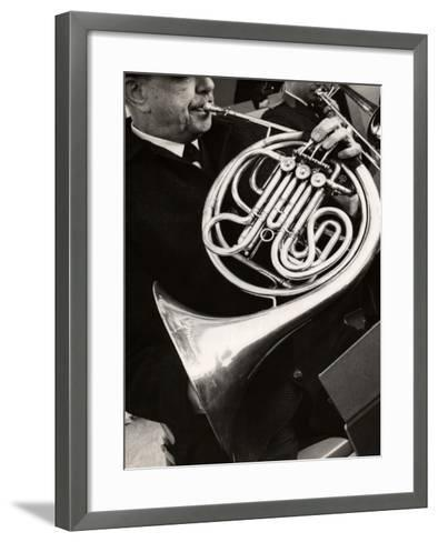 Man Playing French Horn-George Marks-Framed Art Print