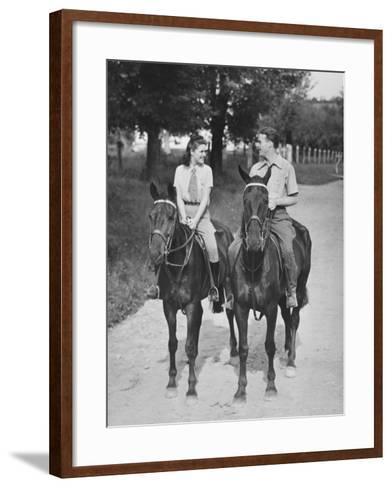 Couple Riding Horses (B&W)-George Marks-Framed Art Print