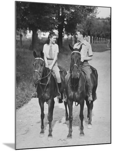 Couple Riding Horses (B&W)-George Marks-Mounted Photographic Print