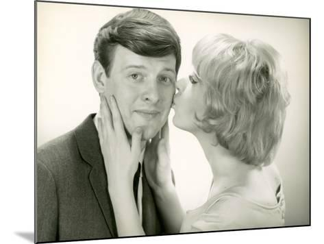 Woman Kissing Man on Cheek-George Marks-Mounted Photographic Print