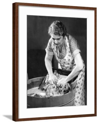 Woman Using Wash Board-George Marks-Framed Art Print