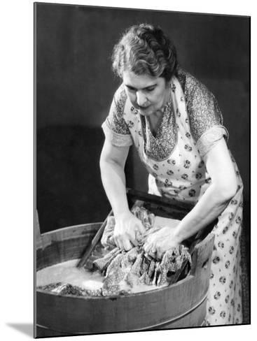 Woman Using Wash Board-George Marks-Mounted Photographic Print
