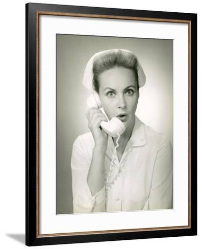 Nurse on Telephone-George Marks-Framed Art Print