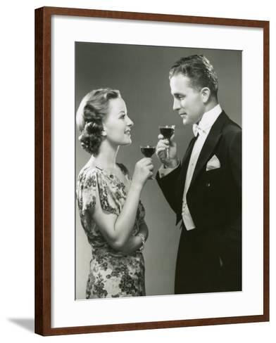 Couple Drinking Wine-George Marks-Framed Art Print