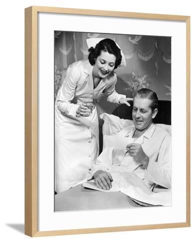 Nurse Taking Care of Sick Patient-George Marks-Framed Art Print