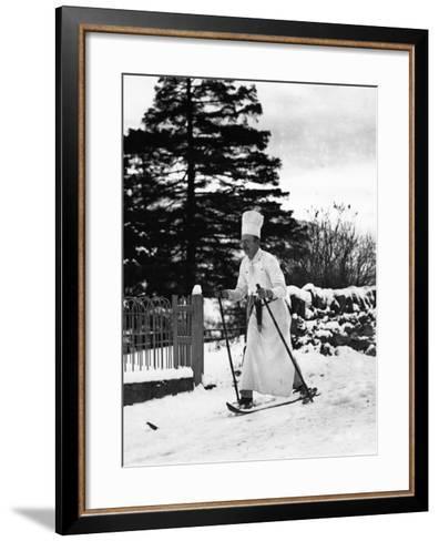 The Skiing Chef--Framed Art Print