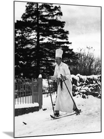 The Skiing Chef--Mounted Photographic Print