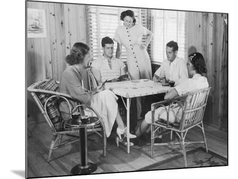 Group of Young People Playing Cards--Mounted Photographic Print