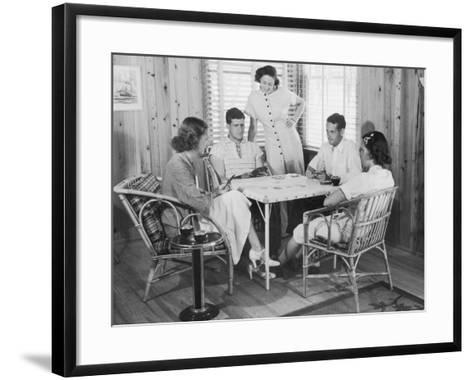 Group of Young People Playing Cards--Framed Art Print
