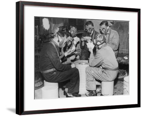 Group of Men Playing Cards, Wearing Gas Masks--Framed Art Print