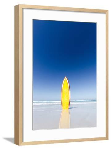 Retro Yellow Surf Board and Blue Sky. Australia.-John White Photos-Framed Art Print
