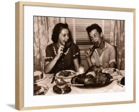Teenage Girl and Boy (15-17) Eating Turkey Dinner--Framed Art Print