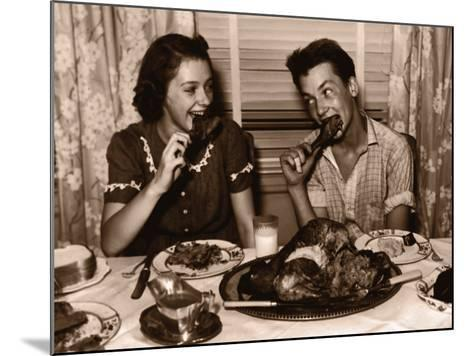 Teenage Girl and Boy (15-17) Eating Turkey Dinner--Mounted Photographic Print