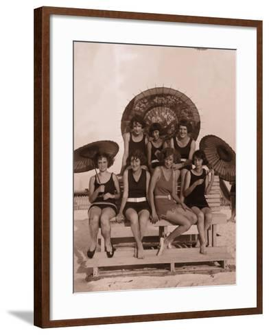 Group of Women in Bathing Suits With Parasols on Bench, 1930's--Framed Art Print