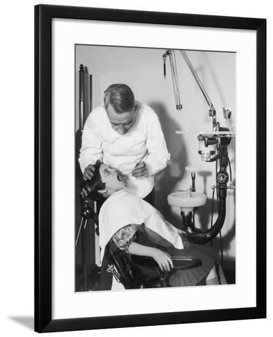 Dentist Examining Girl's Teeth--Framed Art Print