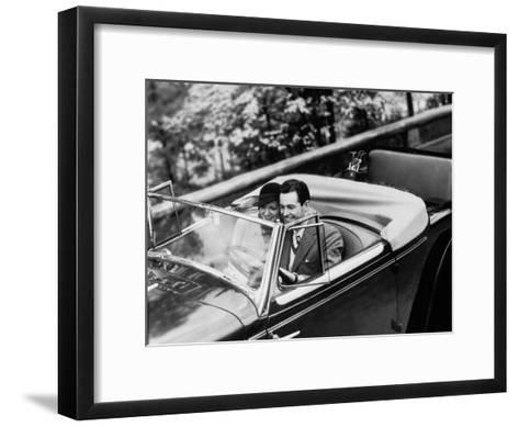 Young Couple in Vintage Soft Top Car With Golf Clubs on Back Seat--Framed Art Print