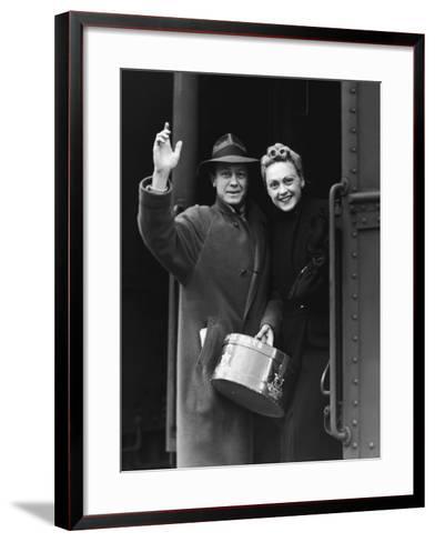 Couple Waving As They Board a Train, Circa 1930's--Framed Art Print