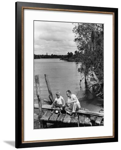 Father and Son Sitting on Dock Getting Ready To Fish--Framed Art Print