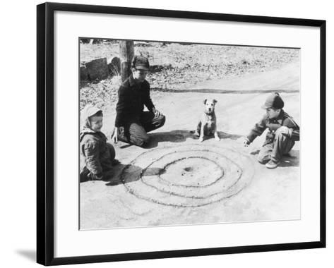Boys Playing Marbles, Dog Watching--Framed Art Print