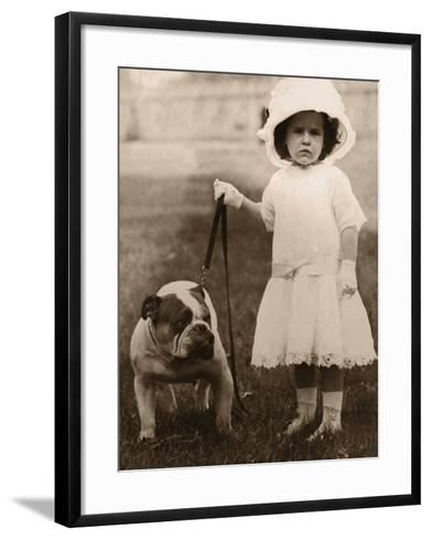Girl in Dress and Hat, Holding Bulldog on Lead--Framed Art Print