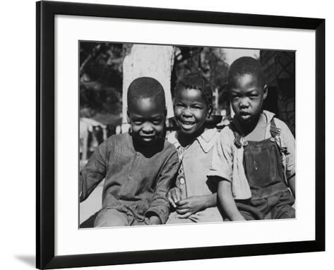 Boys and Girl Sitting--Framed Art Print