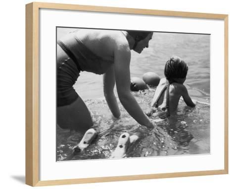 Swimming Lesson-Chaloner Woods-Framed Art Print