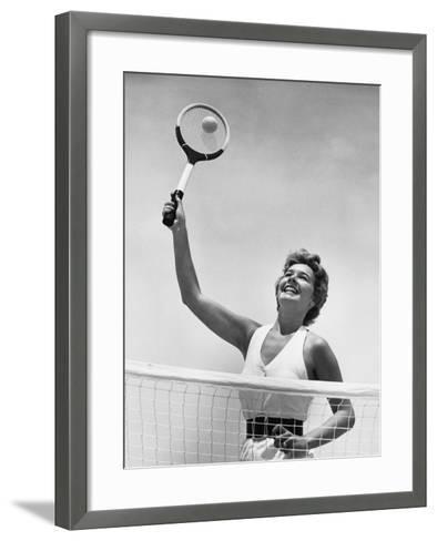 Woman Playing Tennis--Framed Art Print