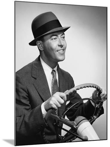 Man Gripping Steering Wheel--Mounted Photographic Print