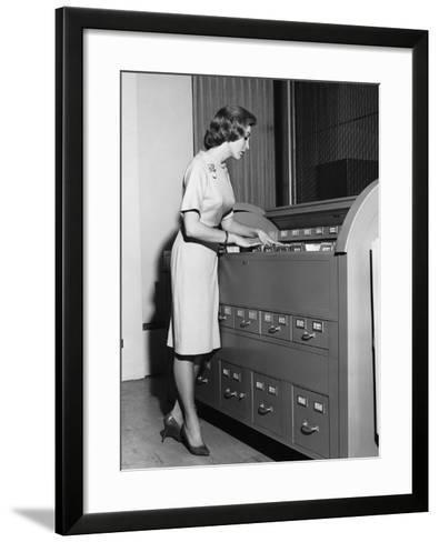Woman Filing--Framed Art Print