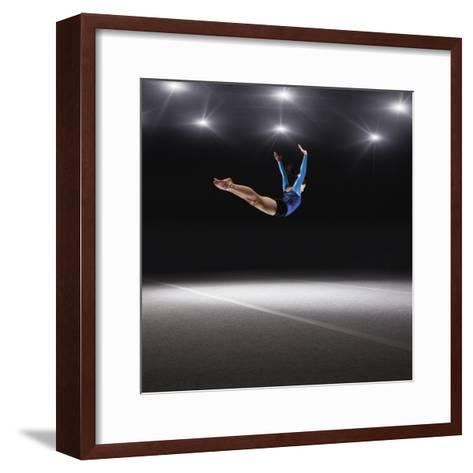 Female Gymnast Jumping through Air-Robert Decelis Ltd-Framed Art Print