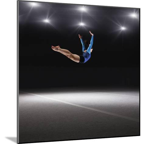 Female Gymnast Jumping through Air-Robert Decelis Ltd-Mounted Photographic Print