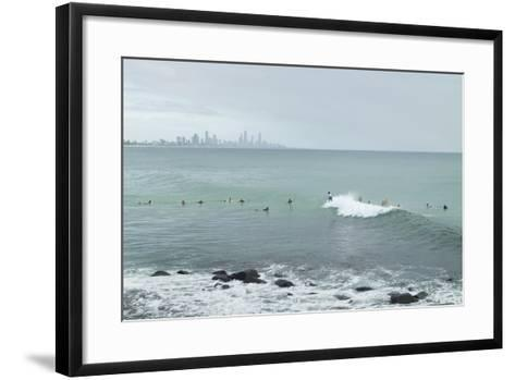 Surfing Early Morning , Queensland , Australia-Southern Stock-Framed Art Print