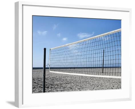 Empty Volleyball Field on the Beach-Frank Rothe-Framed Art Print