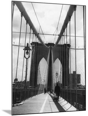 On Brooklyn Bridge-Peter Keegan-Mounted Photographic Print