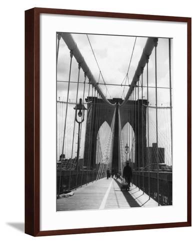 On Brooklyn Bridge-Peter Keegan-Framed Art Print