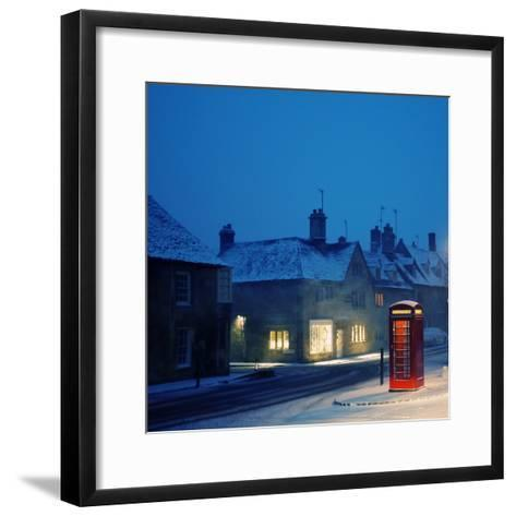 English Red Telephone Booth, in Snow-Andrew Lockie-Framed Art Print