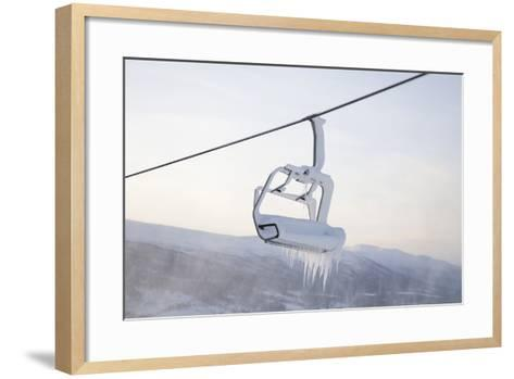 Chair Lift Full of Snow and Ice-Tiina & Geir-Framed Art Print